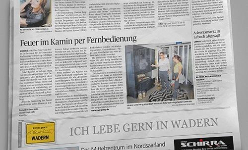 Unser Elektrokamin in der Saarbrücker Zeitung